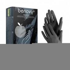 Перчатки нитриловые XS размер одноразовые, текстур на пальцах. Benovy.Цвет-черный. 100 штук/50 пар.