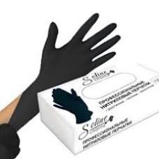 Перчатки нитриловые S размер одноразовые, текстур на пальцах. Soline Charms. Цвет-черный. 100 штук/50 пар.